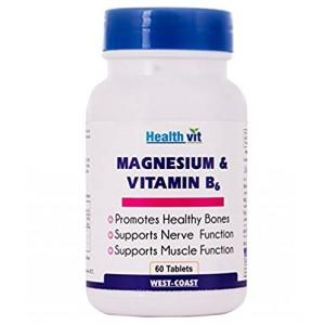 Buy HealthVit Magnesium & Vitamin B6 60 Tablets - Nykaa