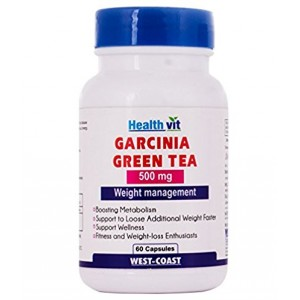 Buy HealthVit Garcinia Cambogia + Green Tea 500Mg Extract 60 Capsules - Nykaa