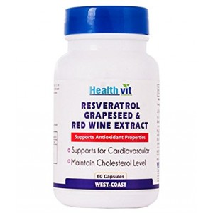 Buy HealthVit Resveratol Grapeseed & Red Wine Extract 60 Capsules - Nykaa