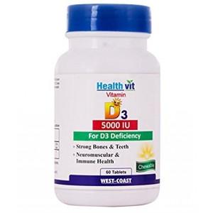 Buy HealthVit Vitamin D3 5000 IU Maximum Strength 60 Tablets - Nykaa