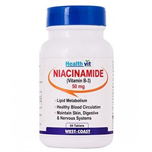 Buy HealthVit Niacinamide (Vitamin B3) 50 Mg 60 Tablets - Nykaa