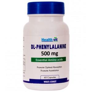 Buy HealthVit Dl-Phenylalanine 500 Mg 60 Capsules - Nykaa