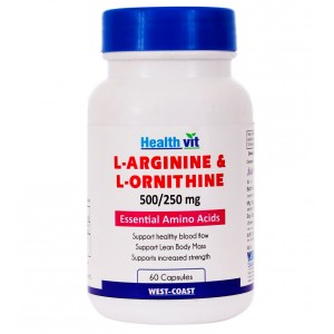 Buy HealthVit L-Arginine & L-Ornithine 500 Mg/250 Mg 60 Tablets - Nykaa