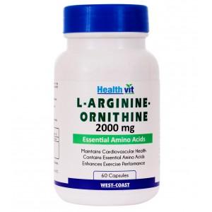 Buy HealthVit L-Arginine-Ornithine 2000 Mg 60 Capsules - Nykaa