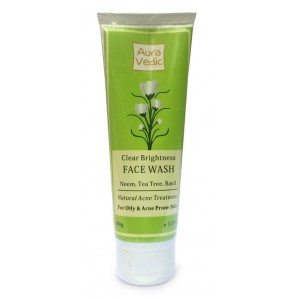 Buy Auravedic Clear Brightness Face Wash with Neem, Tea Tree, Basil - Nykaa