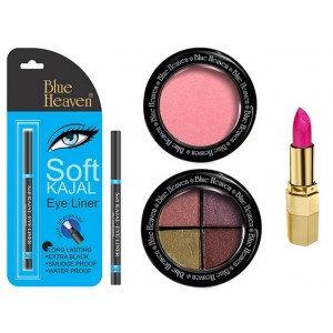 Buy Blue Heaven Xpression Lipstick P 064, Bh Kajal Liner, Eye Magic Eye Shadow 605 & Diamond Blush On 504 Combo - Nykaa