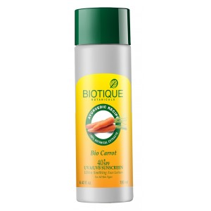 Buy Biotique Bio Carrot Ultra Soothing Face Lotion 40+ SPF Sunscreen - Nykaa