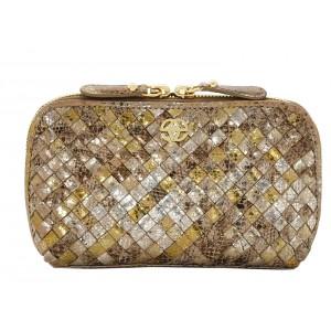 Buy Eske Penley Gold Silver Cosmetic Case - Nykaa