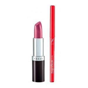 Buy Faces Glam On Ultramoist Lipstick - Magenta + Magneteyes Kajal Combo Kit - Nykaa