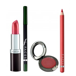 Buy Faces Ultramoist Lipstick + Eye Pencil + Lip Contour + Glam on Creme Blush Combo Kit 1 - Nykaa