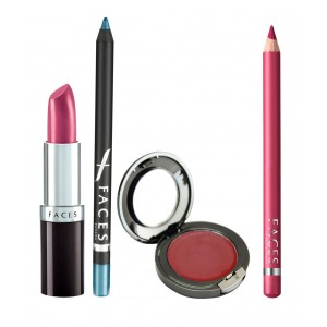 Buy Faces Ultramoist Lipstick + Eye Pencil + Lip Contour + Glam on Creme Blush Combo Kit 4 - Nykaa