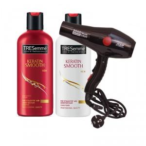 Buy Tresemme Keratin Smooth Infusing Shampoo + Keratin Smooth Infusing Conditioner + Chaoba 2800 Hair Dryer Professional Range - Nykaa