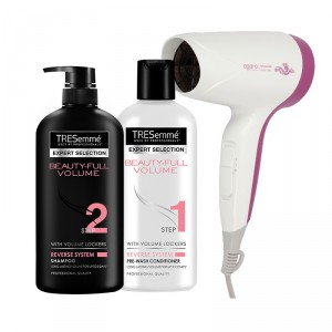 Buy Tresemme Beauty Full Volume Shampoo +  Beauty Full Volume Conditioner + Agaro Style Essential HD 6501 Hair Dryer (Purple) - Nykaa