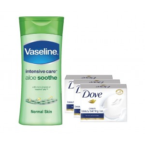 Buy Vaseline Intensive Care Aloe Soothe Body Lotion With 3 Free Dove Cream Beauty Bathing Bars 50gm - Nykaa