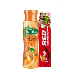 Buy Dabur Vatika Enriched Almond Hair Oil With Free Dabur Red Paste (Worth Rs.42) - Nykaa