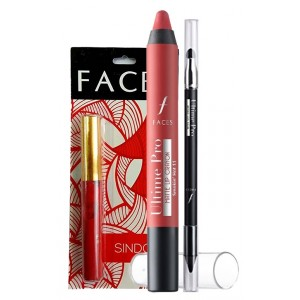 Buy Faces Make My Day Matte Crayon & Intense Gel Kajal Combo + Free Faces Sindoor - Nykaa