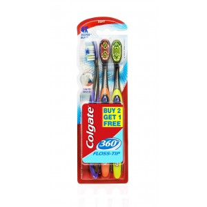 Buy Colgate 360 Floss Tip Toothbrush Buy 2 Get 1 Free - Nykaa