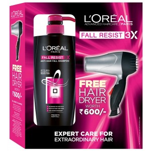 Buy L'Oreal Paris Fall Resist 3x Shampoo + Free Hair Dryer - Nykaa