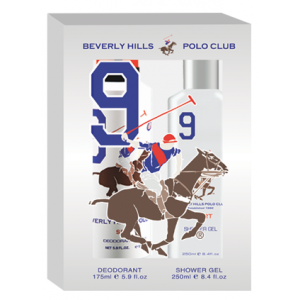 Buy Beverly Hills Polo Club Men's Deodorant And Shower Gel No.9 Gift Set - Nykaa