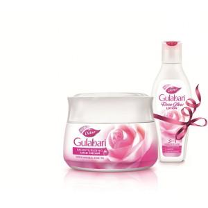 Buy Herbal Dabur Gulabari Moisturising Cold Cream + Get Free 3 in 1 Rose Glow Lotion - Nykaa