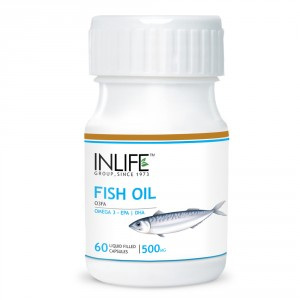 Buy Herbal INLIFE Fish Oil, Omega 3, 500mg 60 Capsules 180/120 EPA DHA For Brain Health - Nykaa