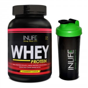 Buy INLIFE Whey Protein Powder 2 lbs (Strawberry Flavour) Body Building Supplement - Nykaa