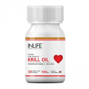 Buy INLIFE Krill Oil 500mg Omega 3 Essential Fatty Acid With EPA DHA, 30 Capsules - Nykaa