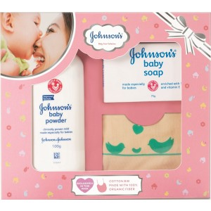 Buy Johnson's Baby Care Collection with Organic Cotton Bib (3 Gift Items, Pink) - Nykaa