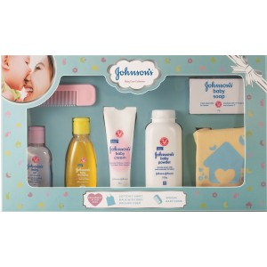 Buy Johnson's Baby Care Collection with Organic Cotton Baby Tshirt (7 Gift Items, Blue) - Nykaa