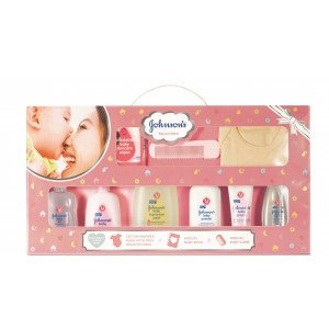 Buy Johnson's Baby Care Collection with Organic Cotton Baby Romper and Baby Milestone Book (11 Gift Items, Pink) - Nykaa