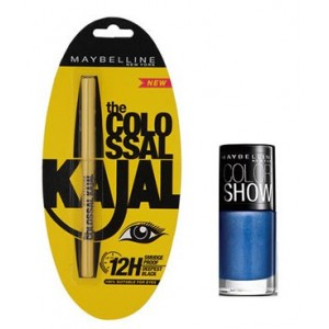 Buy Maybelline The Colossal Kajal - Black + Free Color Show Nail Lacquer - Nykaa