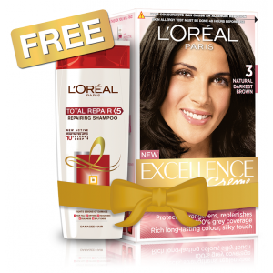 Buy L'Oreal Paris Excellence Creme Hair Color - 3 Natural Darkest Brown + Free Total Repair 5 Shampoo - Nykaa