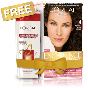 Buy L'Oreal Paris Excellence Creme Hair Color - 4 Natural Dark Brown + Free Total Repair 5 Shampoo - Nykaa