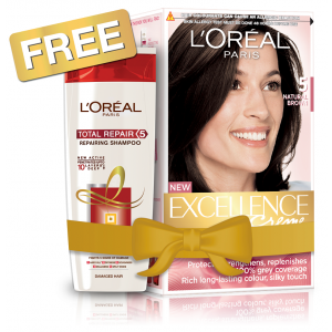 Buy L'Oreal Paris Excellence Creme Hair Color - 5 Natural Brown + Free Total Repair 5 Shampoo - Nykaa