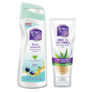 Buy Boroplus Total Results Moisturising Lotion Grapes & Olive Oil + Free Boroplus Duo Face Wash - Nykaa