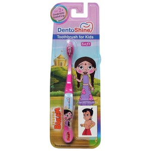 Buy DentoShine Chhota Bheem Comfort Grip Toothbrush For Kids - Pink - Nykaa