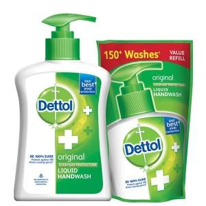 Buy Dettol Original Liquid Handwash Pump (200 ml) With Free Refill Liquid Handwash (175 ml) - Nykaa