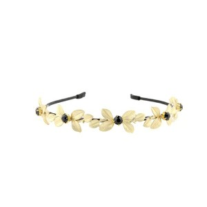 Buy The Blur Store Gold Leaf Black Diamond Crusted Hairband - Nykaa