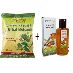 Buy Patanjali Herbal Mehandi + Almond Hair Oil - Nykaa
