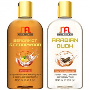 Buy Herbal Man Arden Bergamot & Cedarwood + Arabian Oudh Shower Gel - Nykaa
