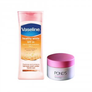 Buy Buy Vaseline Healthy White SPF 24 Body Lotion & Get Ponds White Beauty Daily Spotless Fairness Cream Free - Nykaa