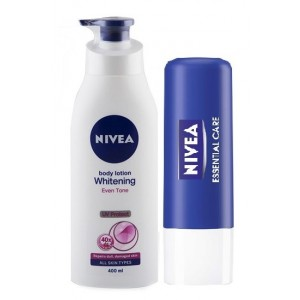 Buy Nivea Whitening Even Tone Cell Repair & Uv Protect Body Lotion + Free Essential Lip Care Lip Balm - Nykaa