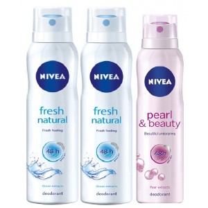 Buy Nivea Fresh Natural Deodorant + Free Pearl & Beauty Deodorant (Buy 2 Get 1 Free) - Nykaa