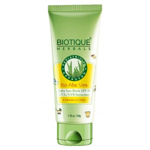 Buy Biotique Bio Aloe Vera Baby Sun Block SPF 20 UVA/UVB Sunscreen  - Nykaa