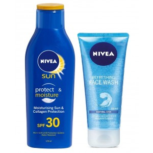 Buy Herbal Nivea Sun Lotion SPF 30 + Free Refreshing Face Wash - Nykaa