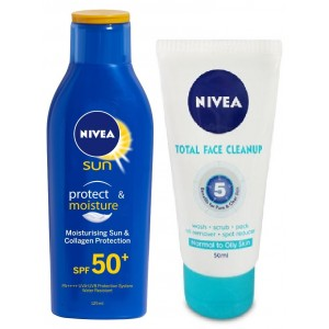 Buy Nivea Sun Lotion SPF 50 + Free Total Face Clean - Nykaa