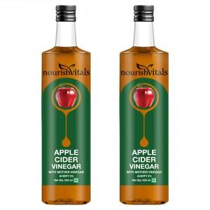 Buy Nourish Vitals Apple Cider Vinegar With Mother Vinegar (2 bottles) - Nykaa