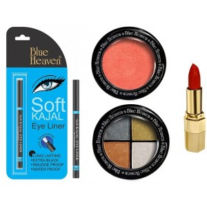 Buy Blue Heaven Xpression Lipstick Mo 161, Bh Kajal Liner, Eye Magic Eye Shadow 606 & Diamond Blush On 503 Combo - Nykaa