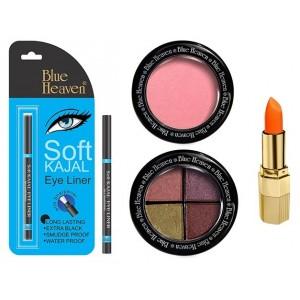 Buy Blue Heaven Xpression Lipstick On 100, Bh Kajal Liner, Eye Magic Eye Shadow 605 & Diamond Blush On 504 Combo - Nykaa