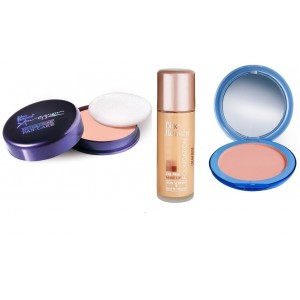 Buy Herbal Blue Heaven Xpression Pan Cake (62), Oil Free Foundation (Cream Beige) & Silk On Face Compact (Natural) Combo - Nykaa